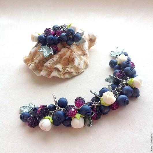 ягодный браслет,купить браслет,комплект украшений,ягода,черника,браслет черника.