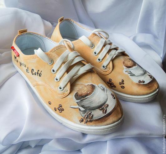 """Обувь ручной работы. Ярмарка Мастеров - ручная работа. Купить Кеды женские с рисунком на заказ """"Чашка кофе"""",  роспись.. Handmade."""