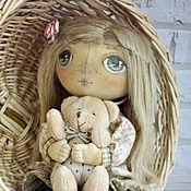 Куклы и игрушки ручной работы. Ярмарка Мастеров - ручная работа Кукла тыквоголовая текстильная с мишкой авторская. Handmade.