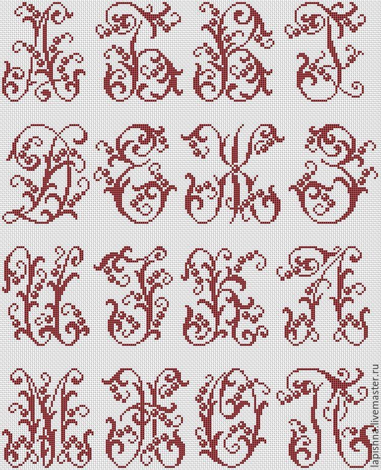 вышивка крестом монограммы схемы