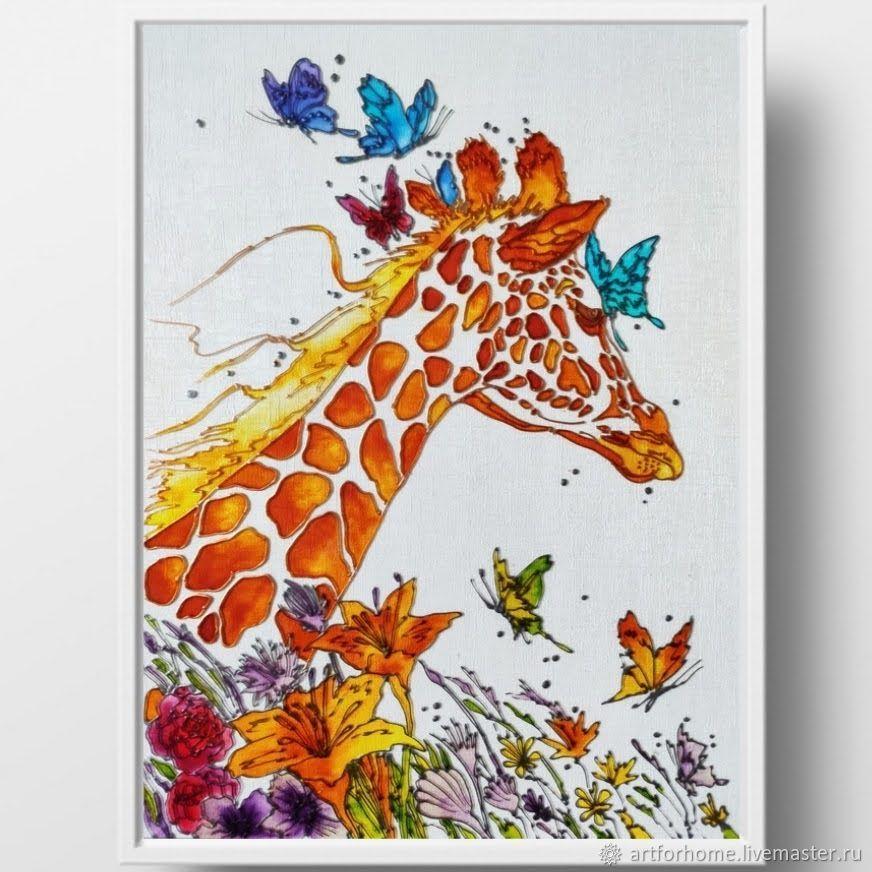 Подарок женщине, картина, витражная роспись: Жираф, Картины, Санкт-Петербург,  Фото №1