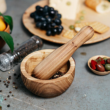 Посуда ручной работы. Ярмарка Мастеров - ручная работа Ступка с пестиком для размельчения трав, специй Сибирский Вяз #ST3. Handmade.