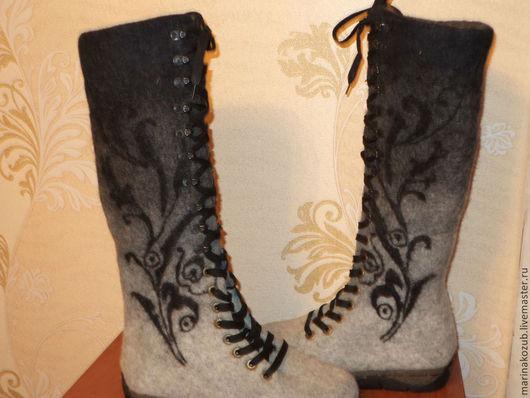 Обувь ручной работы. Ярмарка Мастеров - ручная работа. Купить валенки женские морозные узоры. Handmade. Шерсть, валенки на подошве