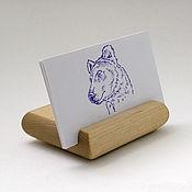 Канцелярские товары handmade. Livemaster - original item Business card holder desktop. A stand for your smartphone. Beech.. Handmade.