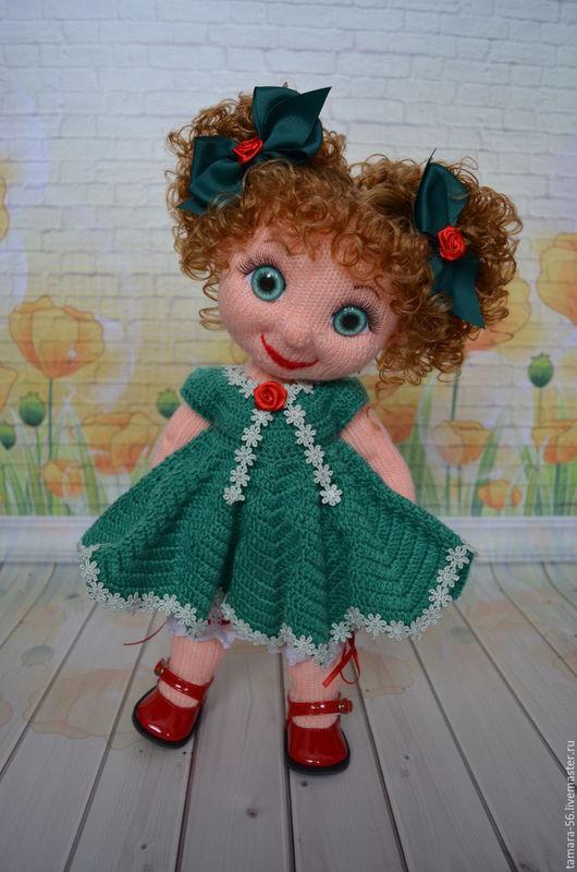 """Человечки ручной работы. Ярмарка Мастеров - ручная работа. Купить Кукла вязаная """"Варвара"""". Handmade. Тёмно-зелёный, вязаная игрушка"""