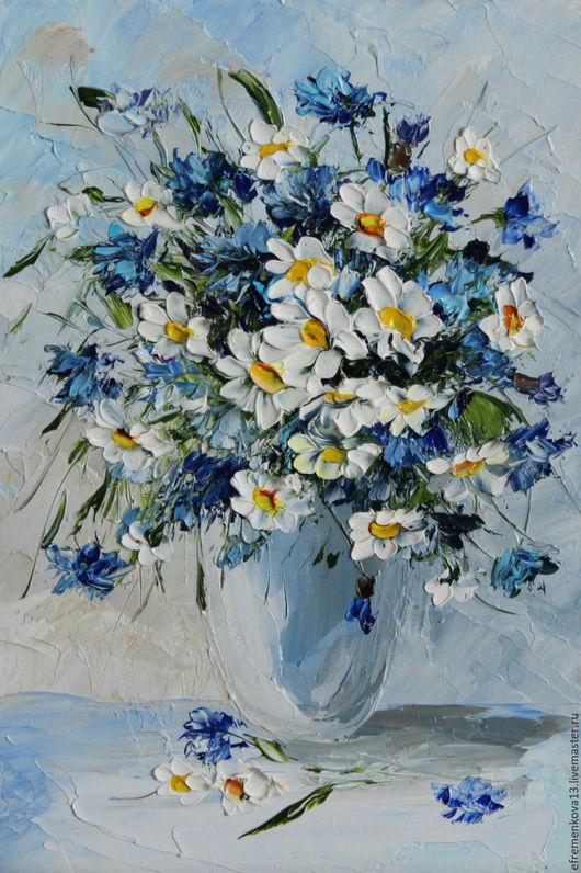 """Картины цветов ручной работы. Ярмарка Мастеров - ручная работа. Купить Картина """"Полевые цветы"""". Handmade. Синий, картина для интерьера"""