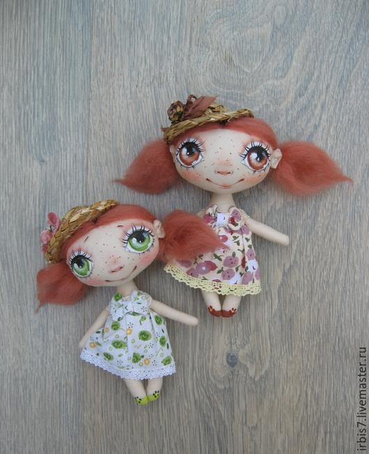 Коллекционные куклы ручной работы. Ярмарка Мастеров - ручная работа. Купить Девчонки в соломенных шляпках. Handmade. Разноцветный, куколка на счастье