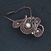 Украшения handmade. Livemaster - original item Pearl copper brooch pin knit pearl Labrador honesty. Handmade.