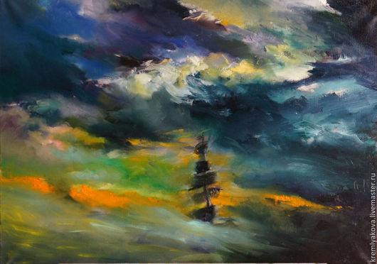 """Пейзаж ручной работы. Ярмарка Мастеров - ручная работа. Купить Картина-""""Шторм"""". Живопись.. Handmade. Море, Буря, шторм, корабль"""