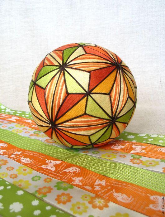 """Темари ручной работы. Ярмарка Мастеров - ручная работа. Купить Темари """"Лето"""". Handmade. Терракотовый, мяч, желто-зеленый, рыжий"""