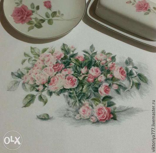 """Картины цветов ручной работы. Ярмарка Мастеров - ручная работа. Купить """" Букет чайных роз """". Handmade. Розовый"""