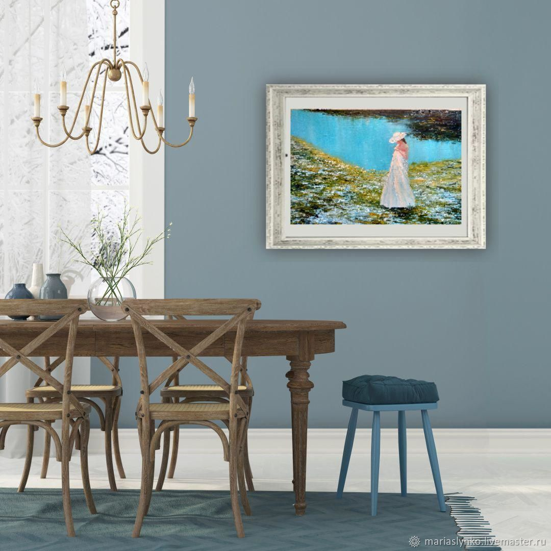Oil painting with a girl. on the shore. Landscape lake 3d, Pictures, Alicante,  Фото №1