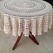 Кружевная скатерть, диаметр 120 см,  вязание крючком, винтаж.