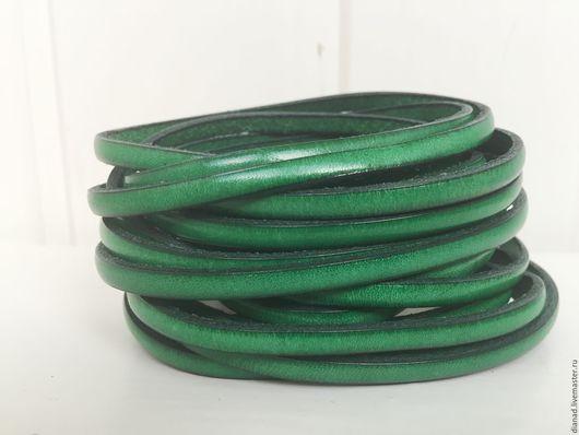 Для украшений ручной работы. Ярмарка Мастеров - ручная работа. Купить Кожаный шнур 5х2мм темно-зеленый. Handmade.