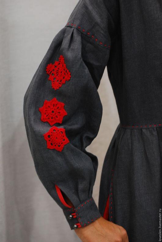 Платья ручной работы. Ярмарка Мастеров - ручная работа. Купить Платье на осень из льна с кружевом. Handmade. Платье в пол