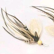 Украшения handmade. Livemaster - original item Boho earrings made of white and beige peacock feathers. Handmade.