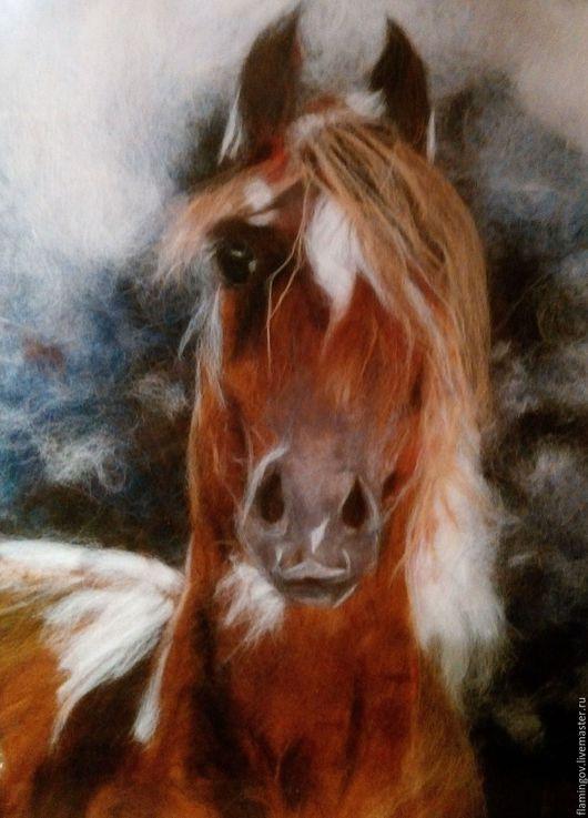 """Животные ручной работы. Ярмарка Мастеров - ручная работа. Купить Картина из шести""""Лошадь"""". Handmade. Картина из шерсти, оригинальный подарок"""