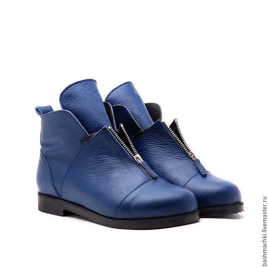 """Обувь ручной работы. Ярмарка Мастеров - ручная работа. Купить Башмачки """"бабочки"""" высокие #42. Handmade. Тёмно-синий"""