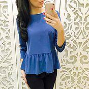 Одежда ручной работы. Ярмарка Мастеров - ручная работа Блуза синяя свободная. Handmade.