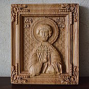 Резная икона из дерева святой мученик  Антоний Александрийский