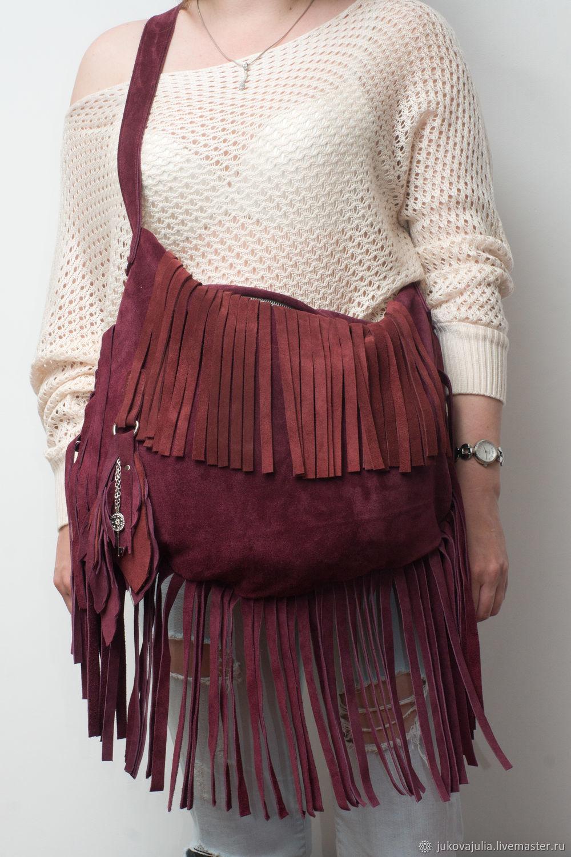 Burgundy satchel bag, genuine leather, suede split leather. Cherry fringe, Sacks, Stavropol,  Фото №1