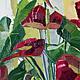 Картина цветы масло холст Яркая картина в интерьер Цветы цветок Красный желтый белый зеленый