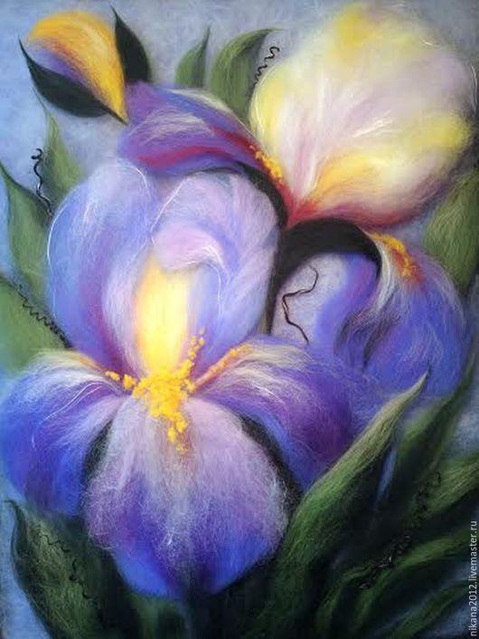 Картины цветов ручной работы. Ярмарка Мастеров - ручная работа. Купить Картина из шерсти Небесно-голубые ирисы. Handmade. Голубой