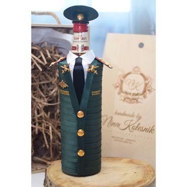 Подарки к праздникам ручной работы. Ярмарка Мастеров - ручная работа Подарок военному мужчине, полковнику. Китель на подарочную бутылку. Handmade.
