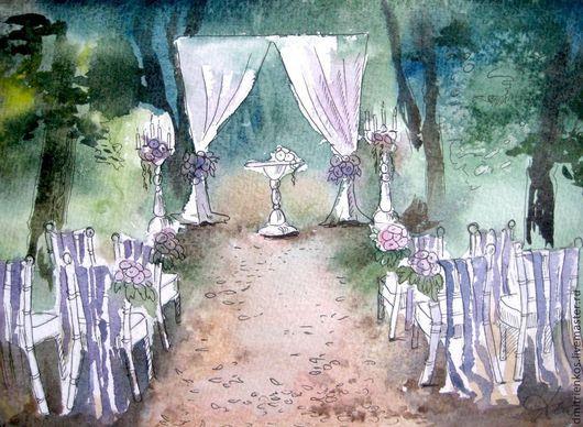 Свадебные цветы ручной работы. Ярмарка Мастеров - ручная работа. Купить Эскизы свадебных декораций 2. Handmade. Акварельный рисунок