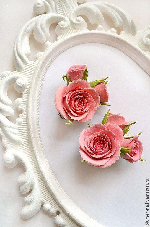 Заколка, заколка для волос, заколка для волос с цветами из полимерной глины, заколка для волос с цветами из полимерной глины, заколка с цветами, заколка с розами, цветы из полимерной глины.