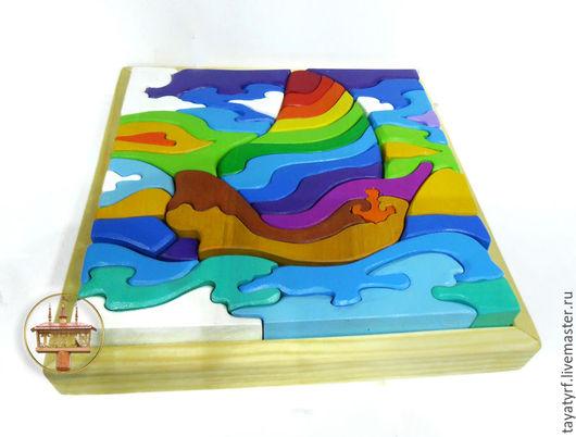 """Развивающие игрушки ручной работы. Ярмарка Мастеров - ручная работа. Купить """"По волнам"""" - конструктор - мозаика - пирамидка - пазл.. Handmade."""