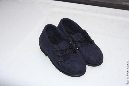 Обувь ручной работы. Ярмарка Мастеров - ручная работа. Купить Полуботинки валяние - Синие. Handmade. Тёмно-синий