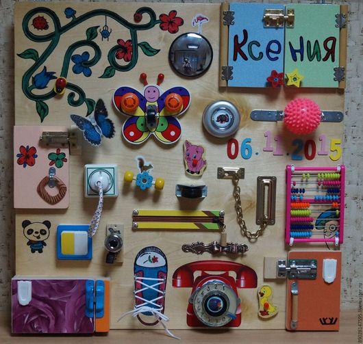 Развивающие игрушки ручной работы. Ярмарка Мастеров - ручная работа. Купить РАЗВИВАЮЩАЯ ДОСКА. Handmade. Разноцветный, развитие моторики