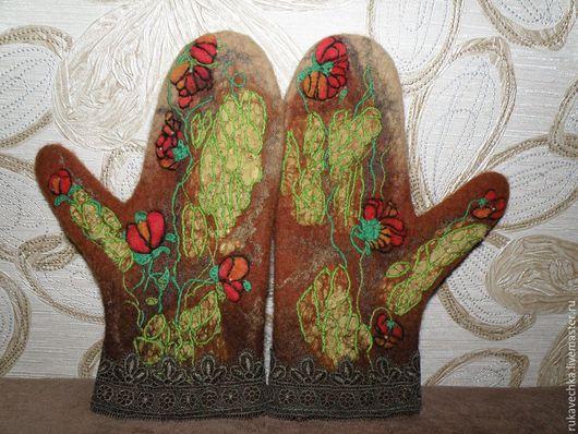 Варежки, митенки, перчатки ручной работы. Ярмарка Мастеров - ручная работа. Купить рукавицы цветочные. Handmade. Варежки, рукавицы