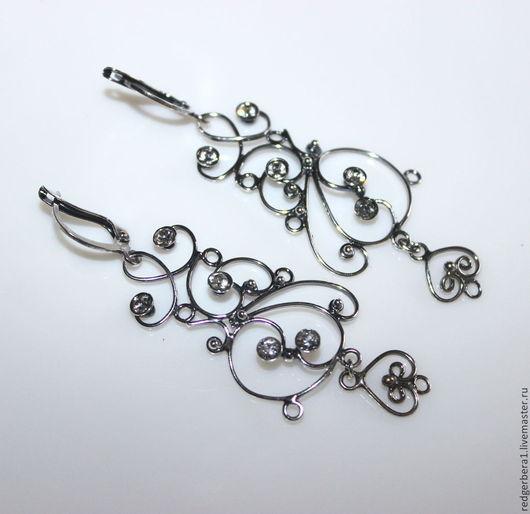 """Для украшений ручной работы. Ярмарка Мастеров - ручная работа. Купить Основа для серег  """"Гвинет"""" - серебрение 925 пробы. Handmade."""