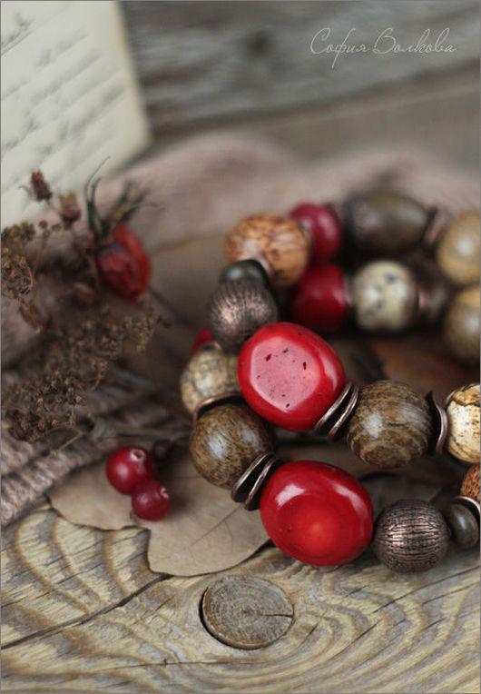 """Браслеты ручной работы. Ярмарка Мастеров - ручная работа. Купить Браслет """"Клюква"""". Handmade. Браслет, ягодный, деревянные бусины"""