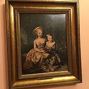 Картины и панно ручной работы. Ярмарка Мастеров - ручная работа Портрет детей Винтаж Франция. Handmade.