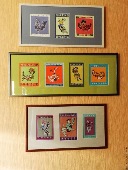 Животные ручной работы. Ярмарка Мастеров - ручная работа. Купить птицы. Handmade. Комбинированный, картина для интерьера