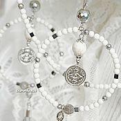 Украшения handmade. Livemaster - original item White hoop earrings with coins and a choker