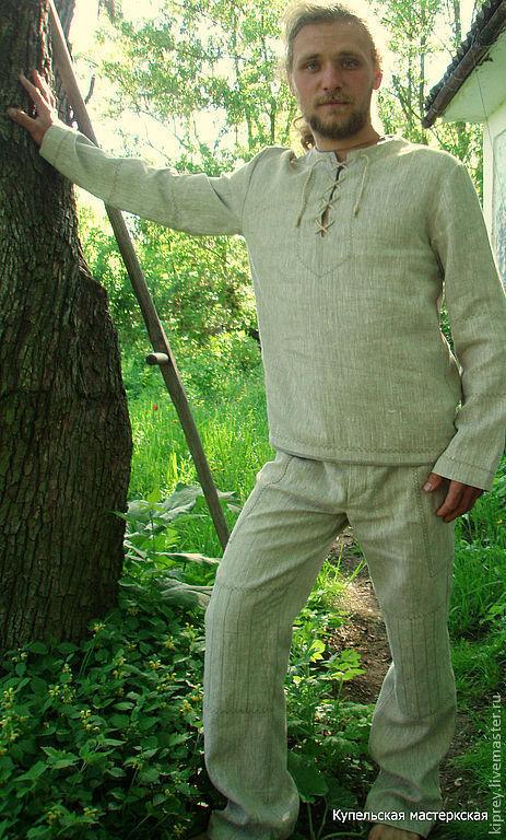 """Костюмы ручной работы. Ярмарка Мастеров - ручная работа. Купить Льняной костюм """"Дикий лён"""". Handmade. Бежевый, славянский стиль"""