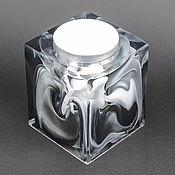 Подсвечники ручной работы. Ярмарка Мастеров - ручная работа Черно-белый подсвечник из эпоксидной смолы. Handmade.