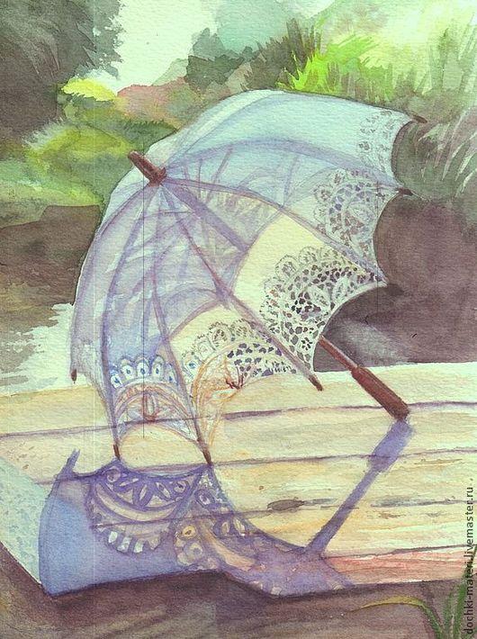 """Пейзаж ручной работы. Ярмарка Мастеров - ручная работа. Купить этюд акварельный""""Зонтик"""". Handmade. Лето, зонтик, тень, трава, тепло"""