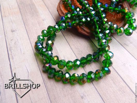 Для украшений ручной работы. Ярмарка Мастеров - ручная работа. Купить Бусины-Рондели 8 мм Emerald AB (20 шт). Handmade.