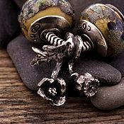 """Украшения ручной работы. Ярмарка Мастеров - ручная работа """"Мак"""" серебряная бусина-подвеска для браслетов. Handmade."""