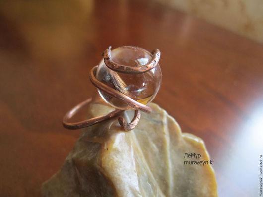 Кольца ручной работы. Ярмарка Мастеров - ручная работа. Купить Кольцо медное Капля шампанского. Кольцо со стеклом.. Handmade.