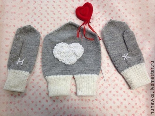 """Варежки, митенки, перчатки ручной работы. Ярмарка Мастеров - ручная работа. Купить Варежки вязаные  для влюбленных """"Н  + Ж - love"""". Handmade."""