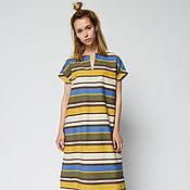 Одежда handmade. Livemaster - original item Cotton and linen striped dress (art. 01-2402). Handmade.