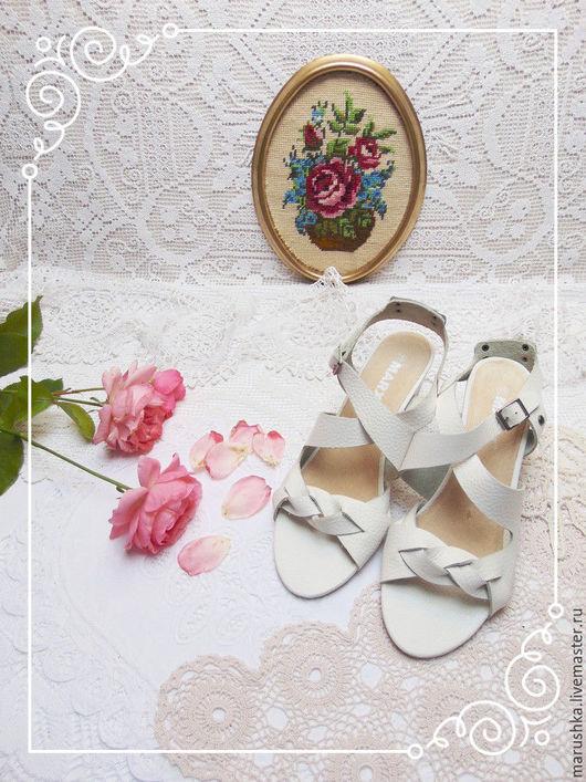 Винтажная обувь. Ярмарка Мастеров - ручная работа. Купить Стильные винтажные босоножки из натуральной кожи, Европа, 90-е. Handmade.