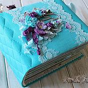 Сувениры и подарки handmade. Livemaster - original item Family album Lavender with turquoise for photos turquoise lavender. Handmade.