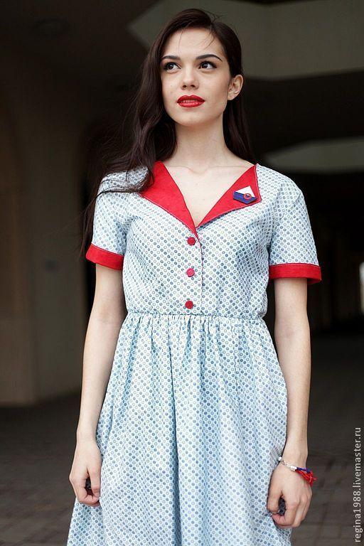"""Платья ручной работы. Ярмарка Мастеров - ручная работа. Купить платье """"Морской винтаж"""". Handmade. Голубой, ретро стиль"""